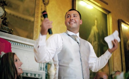 man giving best man or groom speech at a wedding