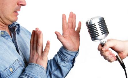 man showing fear of public speaking